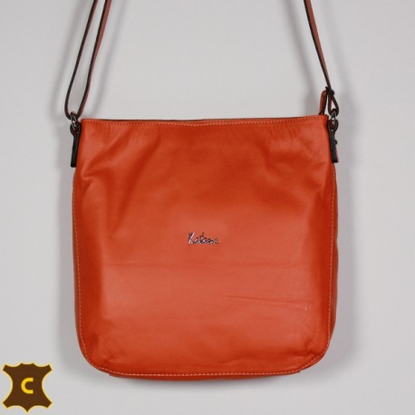 Sac à épaule en cuir LOUANE orange